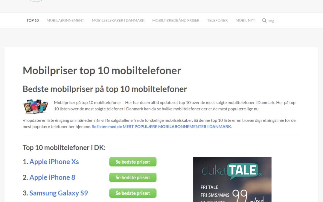 TOP10MOBILTELEFONER